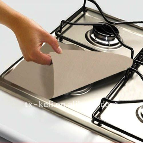 Non-stick Stovetop Protector / Gas Hob Liner - set of 4, 27x27cm, protect gas cooker from cooking spills
