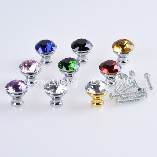 30mm Diamond Shape Crystal Glass Drawer Cabinet Knob Pull Handle Kitchen Door Wardrobe Hardware