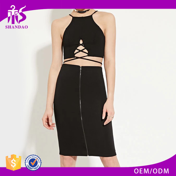 2017 guangzhou shandao summer oem service new design plain dyed fashion black tight zipper front skirt women