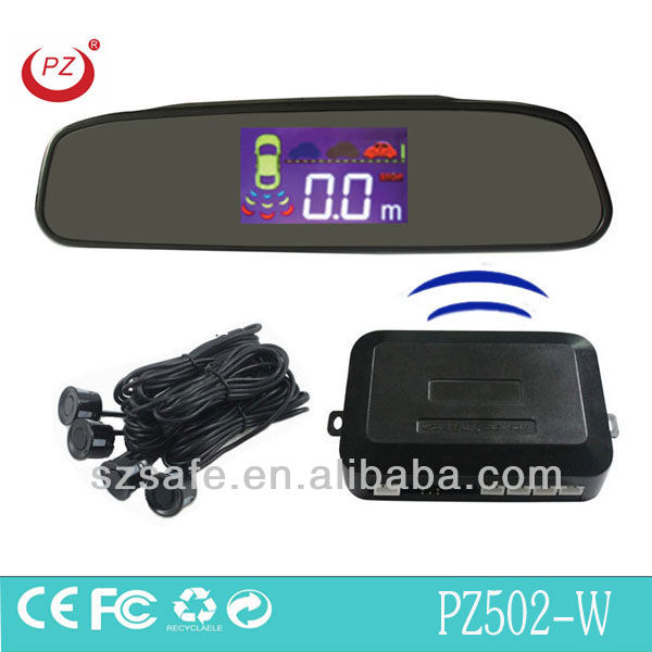 wireless car radar detector with 4 rear sensors and lcd monitor for safety parking