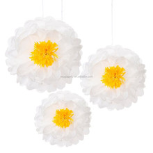 3 Large Paper Daisy Flower Fluffy Hanging Party decorations White Flower Pompoms