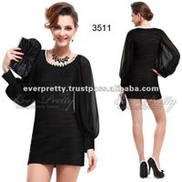 03511BK Long Sleeve Black Round Neck Cocktail Dress with Sleeves