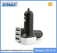 New design 5V 3A 3 ports USB car charger, AiNaU factory wholesale