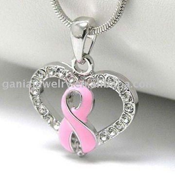 Breast Cancer Awareness Jewelry Pink Ribbon Cancer Heart Pendant Necklace With Snake Chain