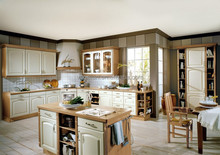 Country style kitchen cabinet curve polyester kitchen cabinet doors