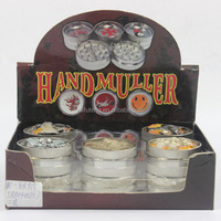Yiwu Wholesale hand muller 6pcs/box OEM dry herbal Three parts Metal tobacco grinder