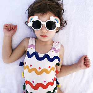 22513ab697 Kid Beachwear Colorful Raised Grain Childrens Swimsuit One Piece Swimwear  Free Shipping