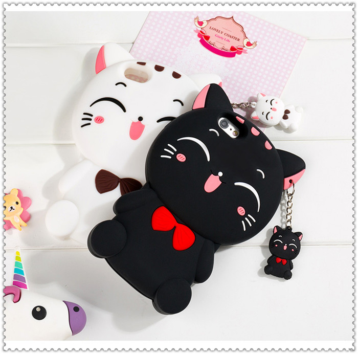 hot selling mobile accessory lucky cat silicone phone case for iphone 7 soft back cover