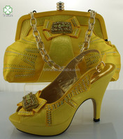 High quality wholesale yellow italian shoes and bags to match women