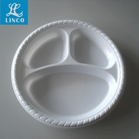 3 Compartment Disposable Plastic Dinner Plate