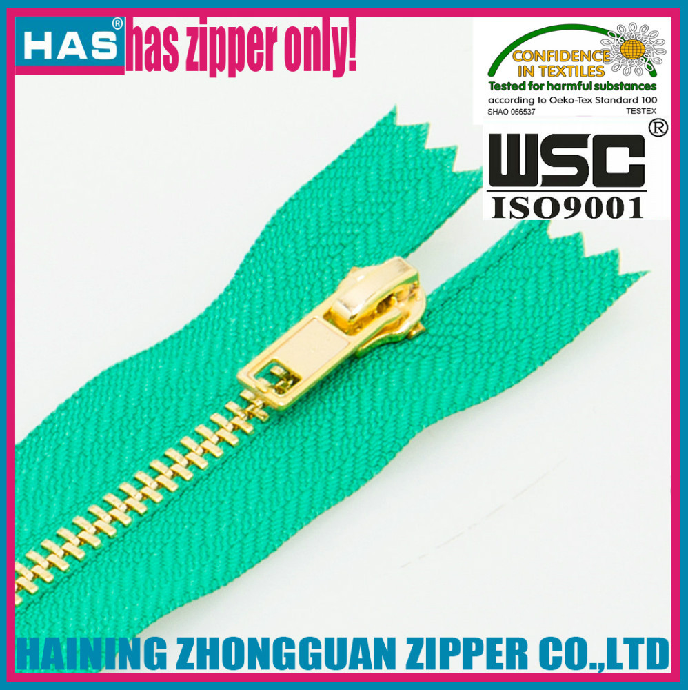 HAS zipper autolock slider gold zipper gold chain open end colorful tape strong teeth with design zipper parts