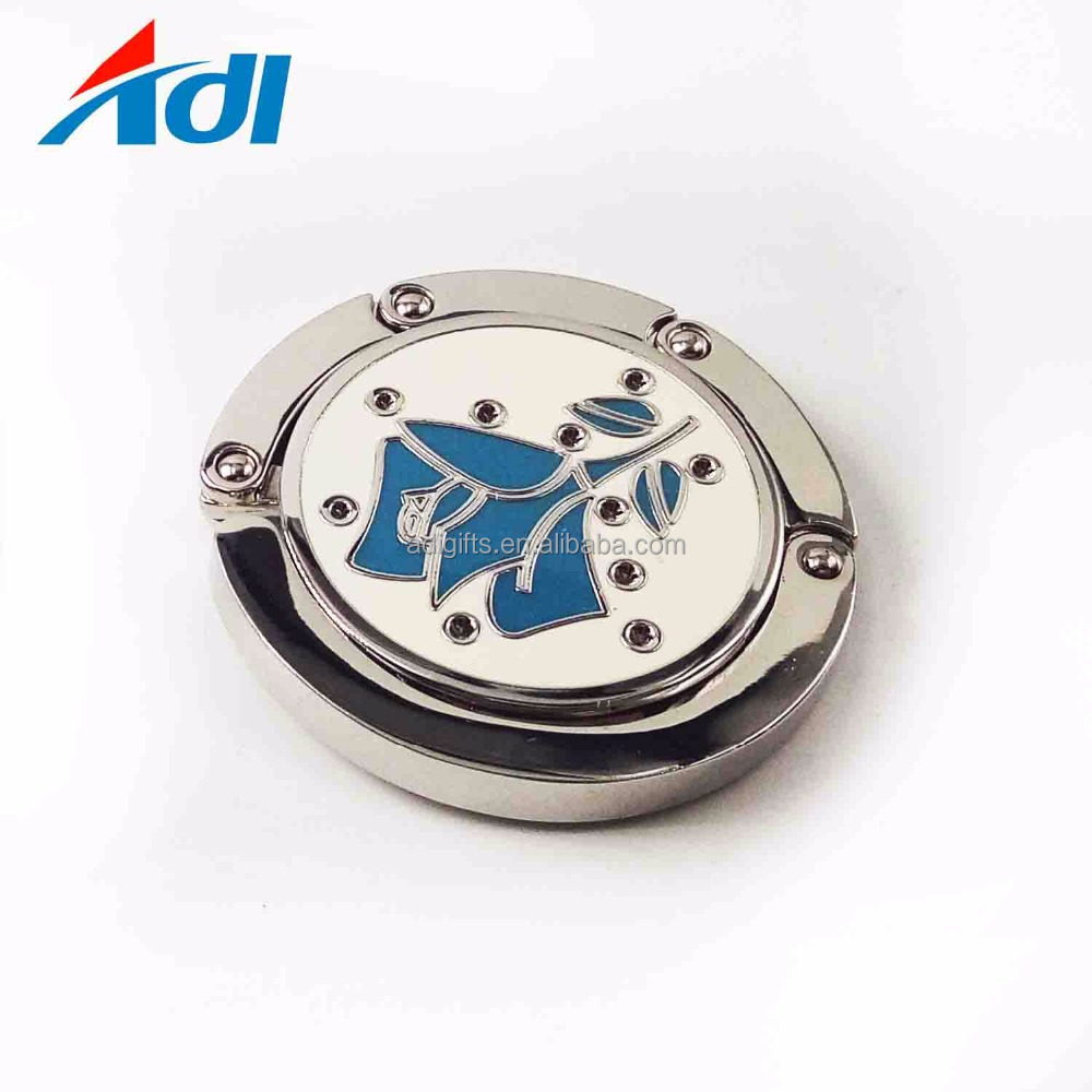 Foldable Epoxy Portable Zinc Alloy Purse Handbag Bag Hanger Hook with your custom logo