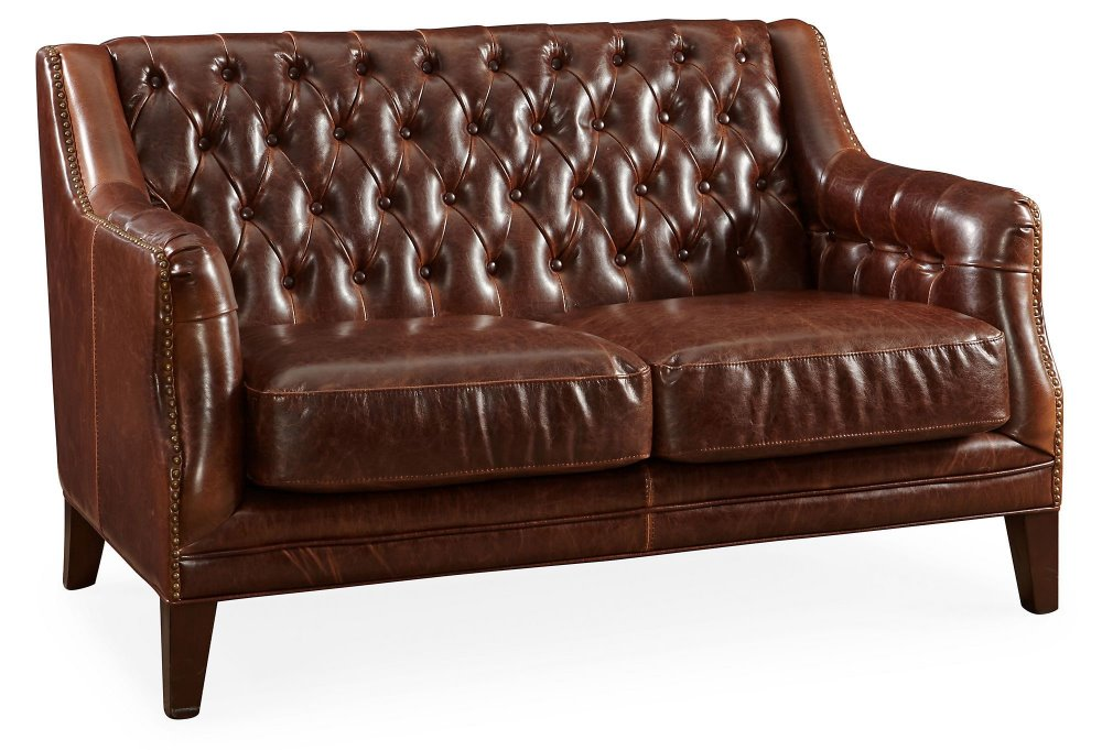 54 tufted leather settee brown living room set bedroom for Traditional settees living room furniture