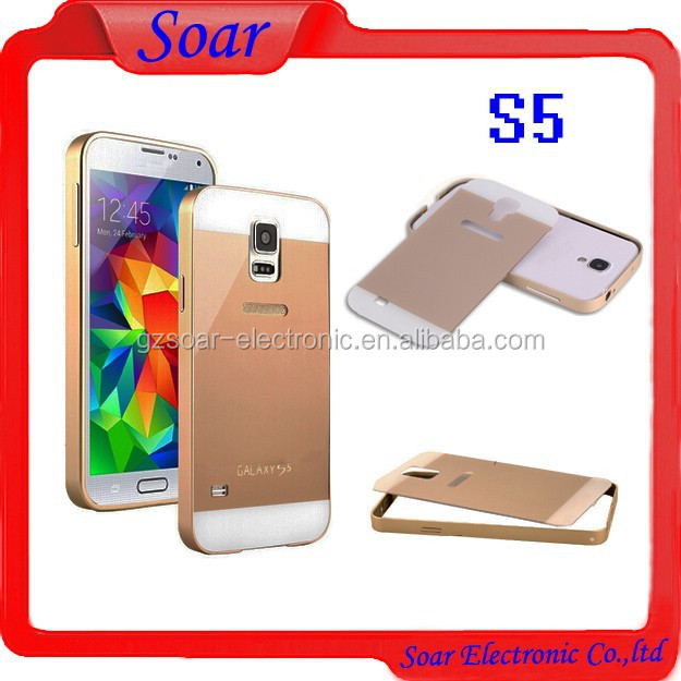 2 in 1 Brushed Aluminum Metal Cell Phone Case for Samsung Galaxy S5 I9600 Bumper with Back Cover and Screw
