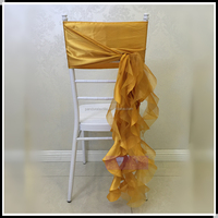 Fancy curly willow chair sash satin organza wedding chair sashes