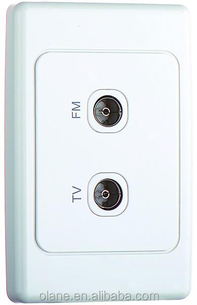 TV/FM VHF F 플러그 위성 벽 소켓 패널 장착 콘센트 화이트-벽 ...