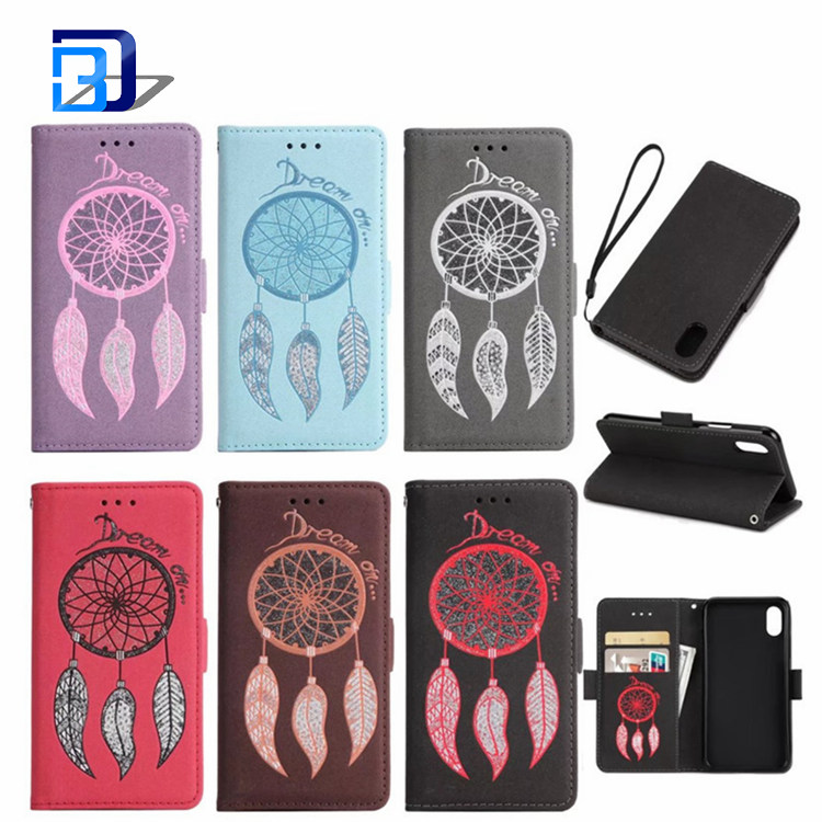 New Arrival 2017 Elegant Wind Chimes Wallet Flip Case PU Leather Protective with Card Holder Stand Phone Case Cover For iPhone X