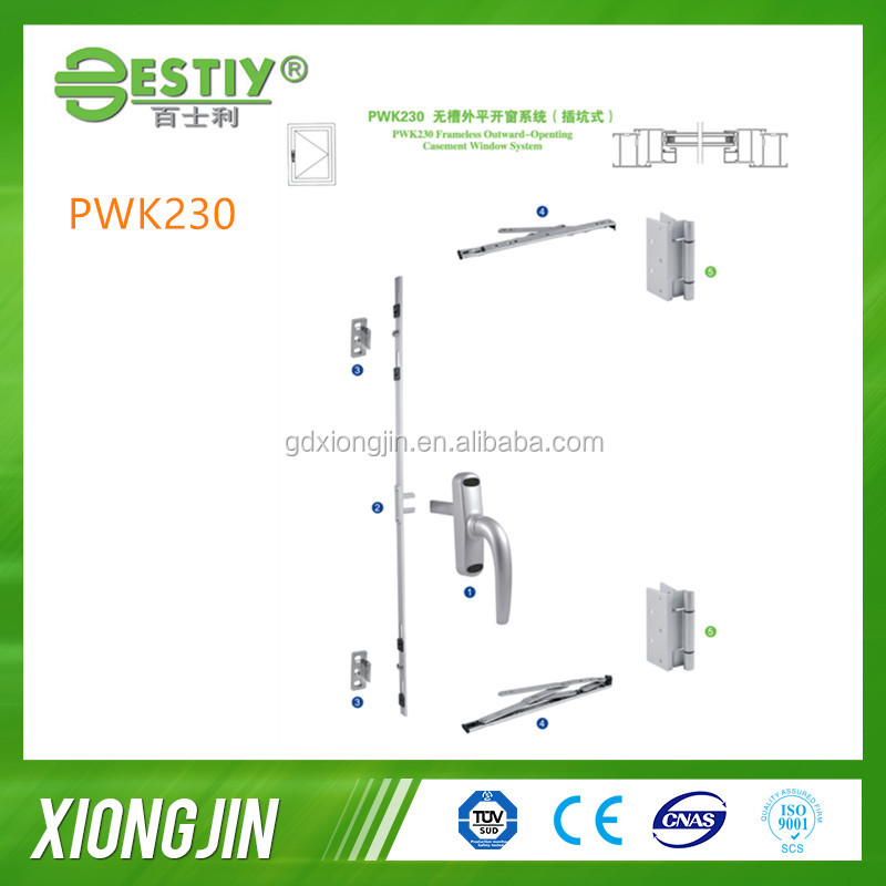 mutil point lock handle and stainless steel friction stay for Outward-Opening Window hardware System(PWK230)