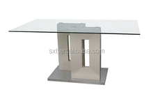Modern glass top dining table with MDF and stainless steel base
