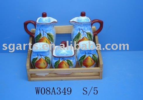 Ceramic Ware Spice Sets W/Wooden dolomite painting design salt and pepper oil vinegar bottle sugar box