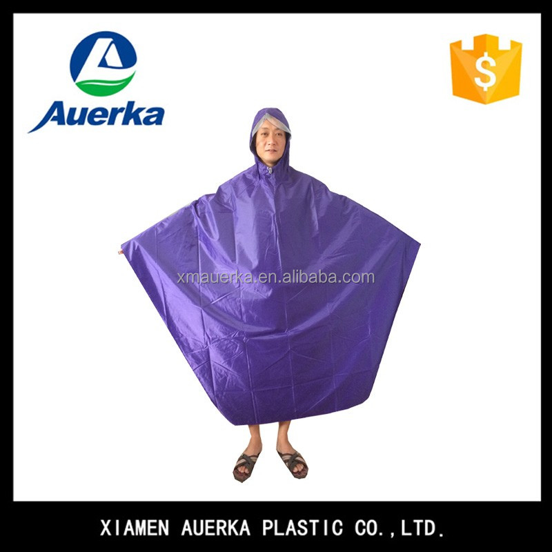 100% waterproof raincoat hooded purple polyester bicycle rain poncho