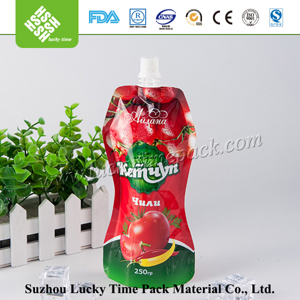 Spout Beverage Containing Cylindrical Plastic Bag