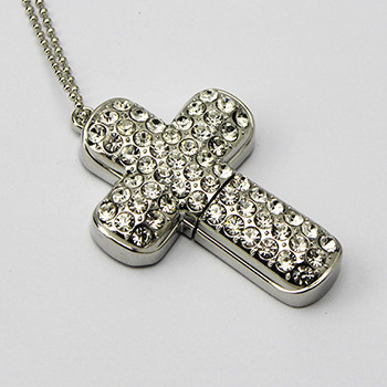 Bulk Cheap metal cross shaped usb flash drive 2gb usb pendrive of necklace design jewelery usb stick cheap price