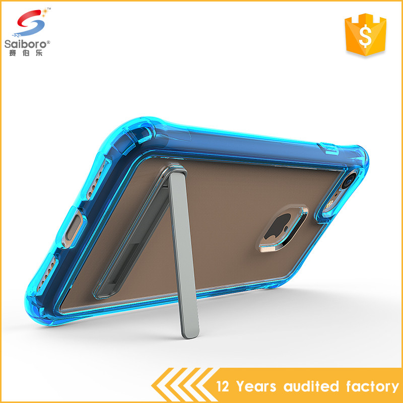 Unique design air cushion transparent pc tpu phone case with kickstand for iphone 6