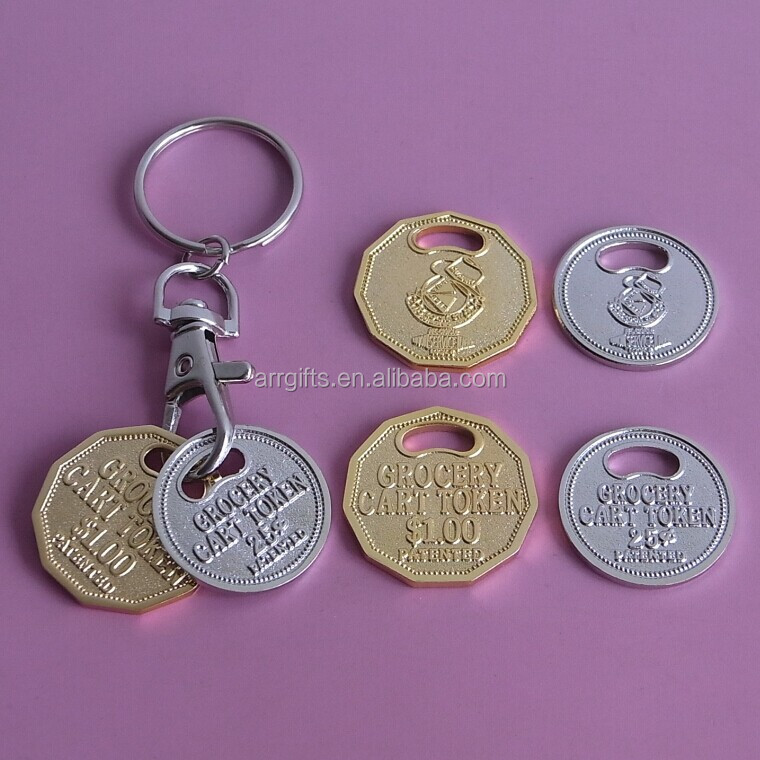 Golden and silver embossed logo with sand blastic effect canadian loonie shopping cart coin lock key chain for supermarket