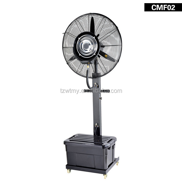 industrial standing pedestal fan 26inch mist fan mobile cooler fashionable water spray fan