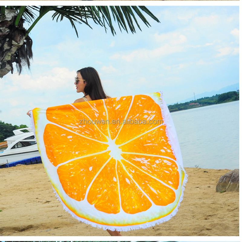 customization wholesale microfibre orange velvet round beach towel