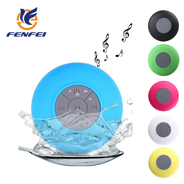 With Suction Cup Bathroom Mini Waterproof Wireless Microphone Hands Free Blue tooth shower speaker