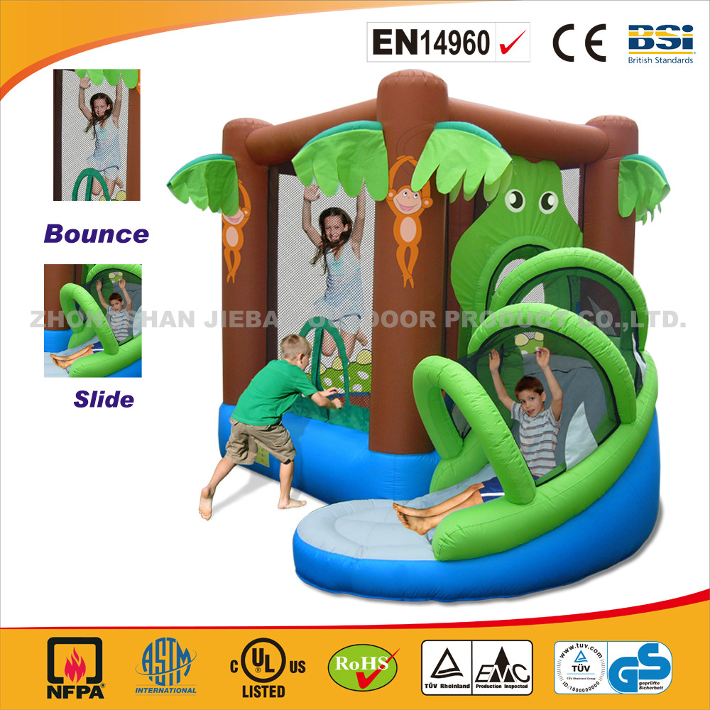 Jungle Jumping Castle With Slide/Cheap And High Quality Slide And Hoop Bouncer/Best Sale Inflatable Bouncy Castle With Slide