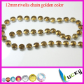 12mm rivolis crystal chain hematite gold color flower cup chain
