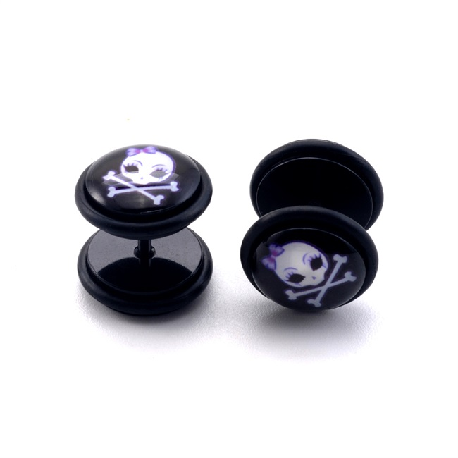 Custom logo acrylic epoxy fake ear plugs body piercing jewelry with skull