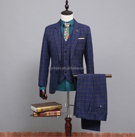 Customized Made 2016 New Two Buttons Plaid Mans Suits Hot Male Smoking Casamentos (Coat+Pants+Vest) NA04 Blue Plaid Mens Suits
