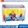 Supermarket transparent curved glass door display chest freezer