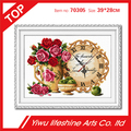 DIY handmade delicate cross stitch flower and clock pattern factory direct sale