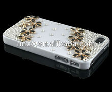 Handmade white flower Bling Diamond Crystal Case Cover For Apple iPhone 4 4g 4s