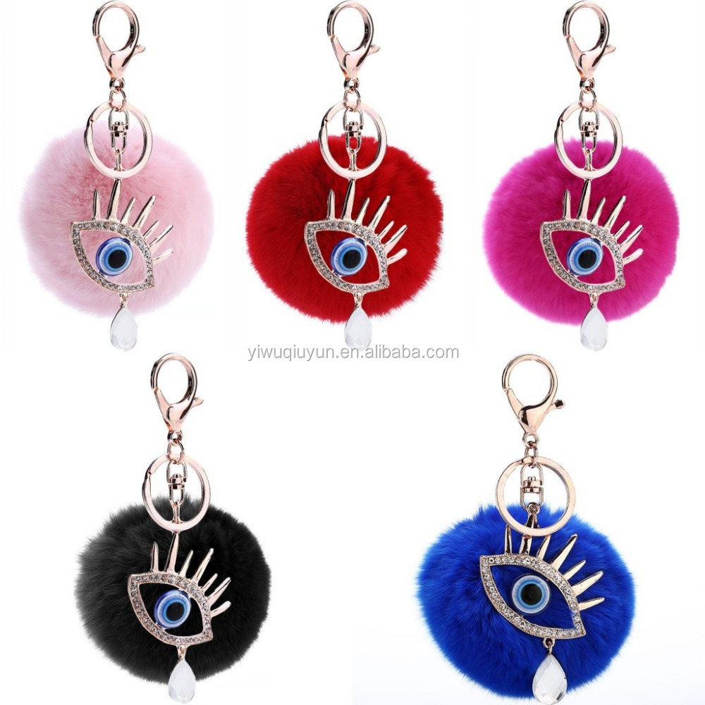 DIY Trendy Turkey Blue Eyes Fluffy Round Ball Keychain For Car Key Ring For Women Ornaments Bag Pendant Keyring For Lady