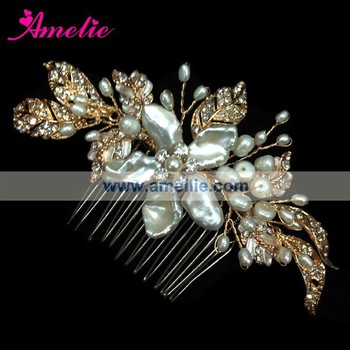 Amelie New Gold Bridal Pearl Hair Comb as wedding Dress Accessories