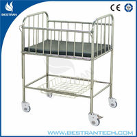 China supplier BT-AB106 Stainless steel hospital infant bed baby nursing bed infant cot baby iron cradles infant medical bed