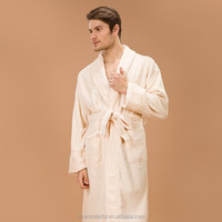 sexy evening dress beige shawl collar coral fleece night dress for men very warm and comfortable