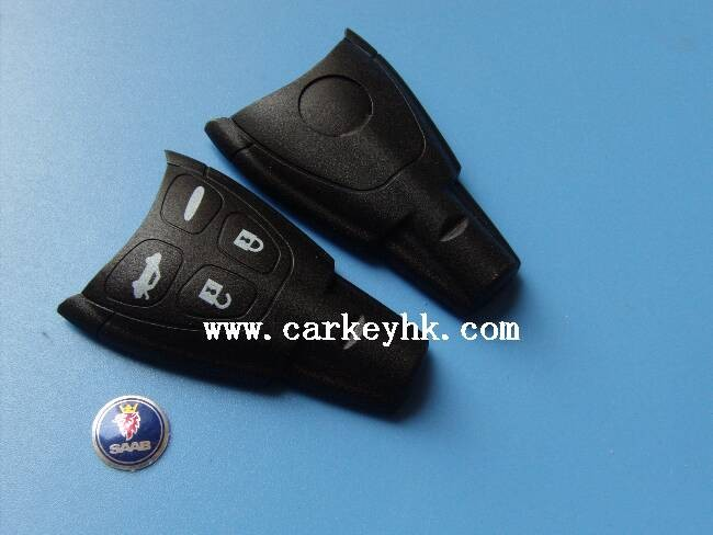Soft 4 button promotional smart remote car key shell case cover blank for SAAB