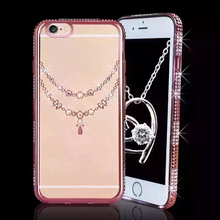 Mobile phone pc cover silicone tpu case with hard bling diamond for iPhone 6