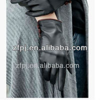 ZF1128 Sex Fashion Hot Sell black leather red buttons leather gloves