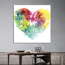 Wholesale Beautiful Print First And 50% Hand Paint Heart Canvas Painting for Kids