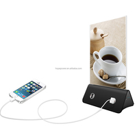 New Products Menu Advertisment Power Bank, 4 USB Outports Table Chargers for Restaurant/Coffee Shop with LCD screen