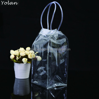 High grade clear PVC packing bag PVC cosmetic bag with handle