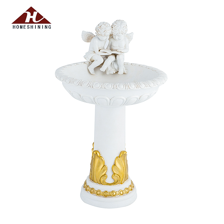 Top Quality Garden Decorative Reading Cherub Statue Solar Light Bird Bath For Sale